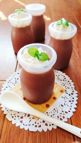 レンジで簡単☆甘酒豆乳ココアプリン。