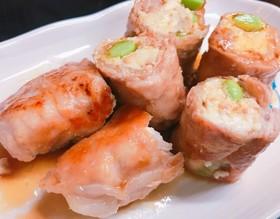 豆腐と枝豆の豚肉巻き