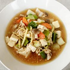 レンジで美味!豆腐とねぎの中華スープ煮