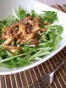 水菜サラダ。キノコのさっぱりドレッシング