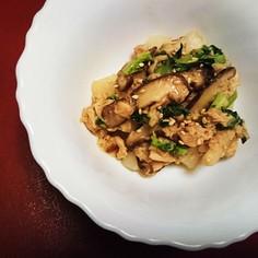 大根ツナ椎茸の簡単ごまぽん炒め