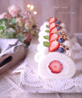 ♡ほわほわ♡簡単♡ホワイトロールケーキ♡