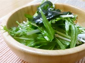 ベジ♪水菜とわかめの中華風和え物