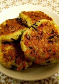たっぷり野菜のお魚ハンバーグ!