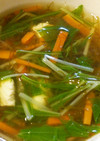 もずくと水菜と鶏ささみのスープ。