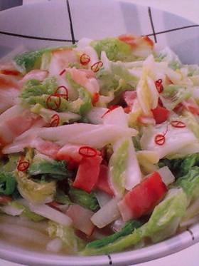 白菜とベーコンのピリカラ炒め☆