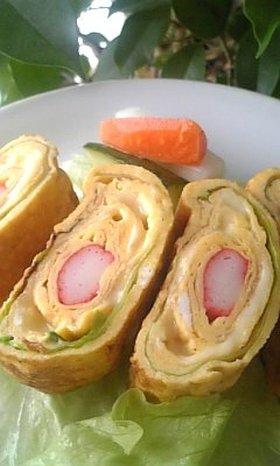 お弁当に彩り☆サラダ巻き風卵焼き