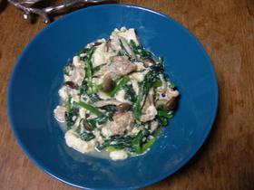 鳥ミンチと豆腐の中華風