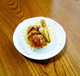 鶏団子とネギの焼肉のたれ炒め♥