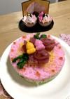 ひな祭り ピンクのバラの寿司ケーキ