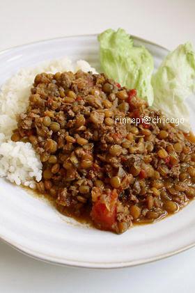 レンズ豆と牛挽肉のグリーンカレー