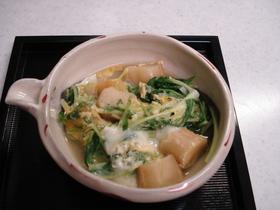 水菜と麩の卵とじ