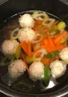 鶏むね挽肉と長ネギの鶏団子スープ