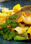 鱸のソテー 春野菜の軽い煮込み添え