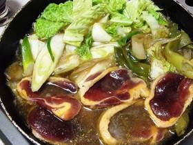 ワイルドな鴨肉で白ネギたっぷり鍋