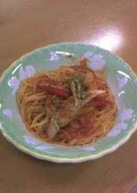 カニのトマトクリームスパゲッティ