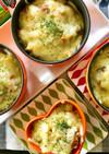 グリーンカレー風味パン粥チーズグラタン