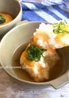 チーズバター醤油焼きおにぎりのスープご飯