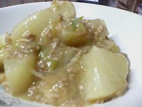 挽肉で大根と里芋のうま煮