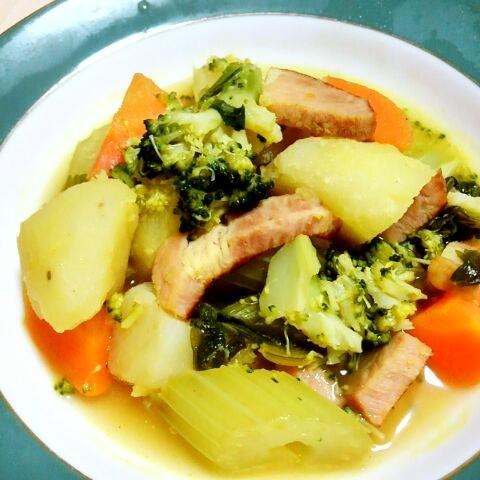 ベーコンと野菜のカレースープ