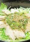 蒸し鶏の梅肉ソースかけ