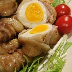 豚肉巻き三兄弟 卵、エリンギ、ミニトマト