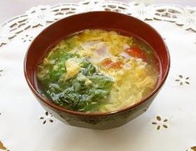 グリーンリーフとミニトマトの卵スープ