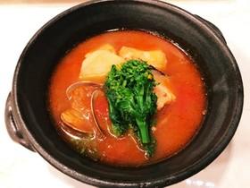 菜の花と魚介のトマトスープ