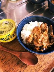 サヴァ缶でナスとキノコのカレー風味の写真