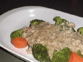 温野菜の挽肉あんかけ