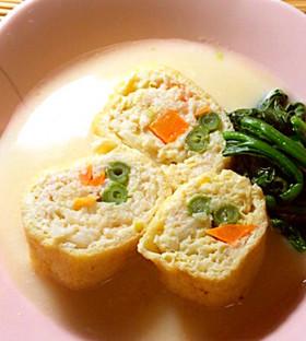 鶏の信太煮 豆乳スープで。