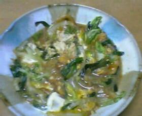 白菜とにらを卵とじ煮^^w