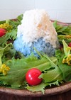 青いご飯?!で富士山。