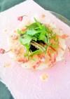 鯛のカルパッチョ☆桜と塩麹のドレッシング