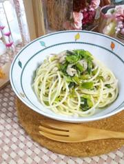 塩サバ&小松菜の昆布茶スパゲティの写真