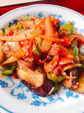 茄子と牛肉と野菜の焼肉のタレ炒め