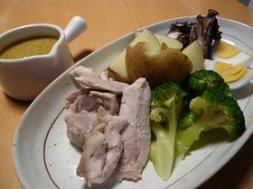 ヘルシー☆蒸し鶏と蒸し野菜のカレーソース