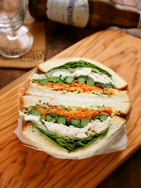 菜の花とささみのボリュームサンドイッチ