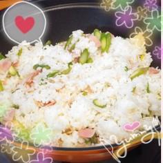 春色☆アスパラとベーコンの炒飯