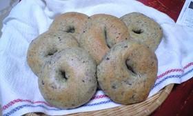HBで よもぎと甘納豆のベーグルパン