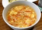 トマトとエノキの簡単かき卵コンソメスープ