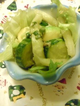 ホタテ入り炒め大根アボガド野菜サラダ