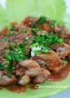 鶏から揚げのピリ辛ごまソース