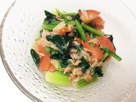 小松菜とトマトとツナ缶のサラダ
