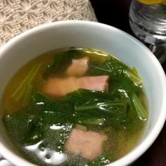 かぶの葉とベーコンの春めきスープ♪