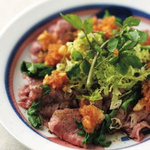 牛しゃぶロース、クレソンと白菜のサラダ