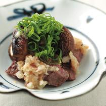 牛ロース肉と焼きしいたけ梅わさびおろし