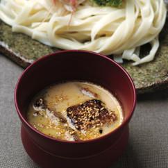 牛カルビ肉とゴマだれカレー風味のつけ麵