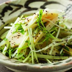 じゃがいも、竹の子、水菜の塩昆布和え