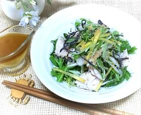 新玉ねぎと水菜の和風チキンサラダ